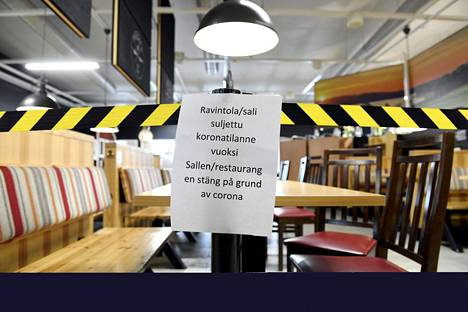 ABC:n ravintolan suljettu sali Siuntiossa 9. maaliskuuta.