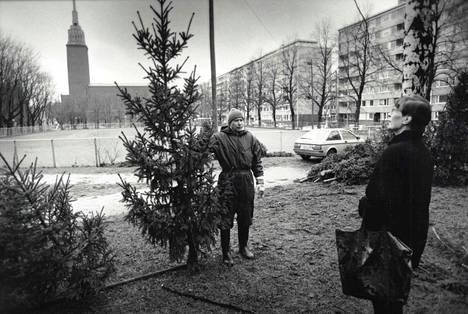 Joulukuusikauppa kävi kuumana Punavuoressa vuonna 1991, vaikka lunta ei maassa juuri ollutkaan.