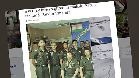 Intian armeijan vuoristoretkikunta kertoi havainnoistaan pikaviestipalvelu Twitterissä.