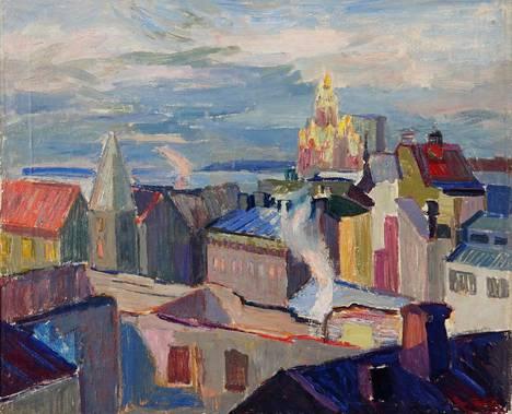 Tove Janssonin vuonna 1945 maalaama teos Katajanokalla.