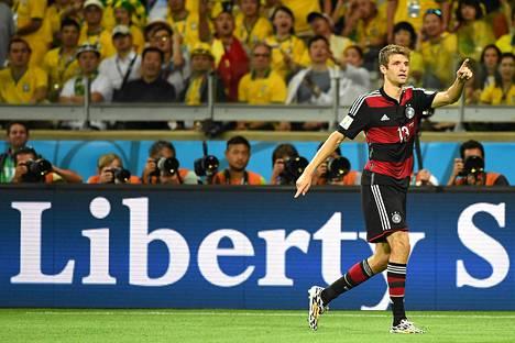 Thomas Müller on Saksan joukkueen paras maalintekijä MM-turnauksessa viidellä osumallaan.