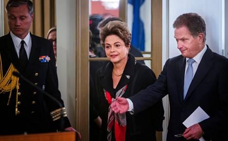 Brasilian presidentti Dilma Rousseff tapasi presidentti Sauli Niinistön tiistaina aamupäivällä.
