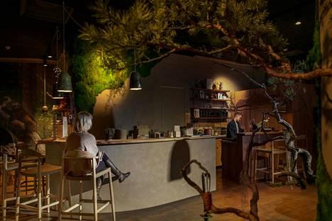 Metsä/Skogenin Mushroom Bar on rakennettu tunnelmaltaan metsäiseksi.