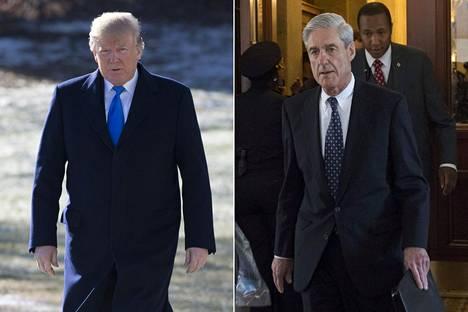 Presidentti Donald Trump (vas.) ja erikoissyyttäjä Robert Mueller.