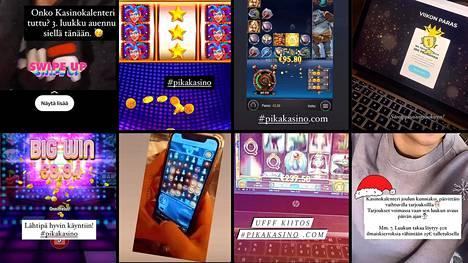 Kymmenet suomalaiset somevaikuttajat toimivat ulkomaisten nettikasinoiden mainoskasvoina. Kuvakaappauksia vaikuttajien Instagram-videoilta.
