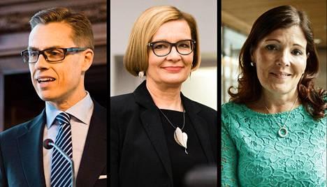 Alexander Stubb, Paula Risikko ja Sari Sarkomaa.