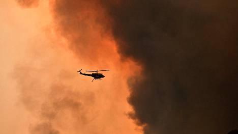 Helikopteri lensi 90 kilometriä Sydneysta raivonneen maastopalon yllä 19. joulukuuta.