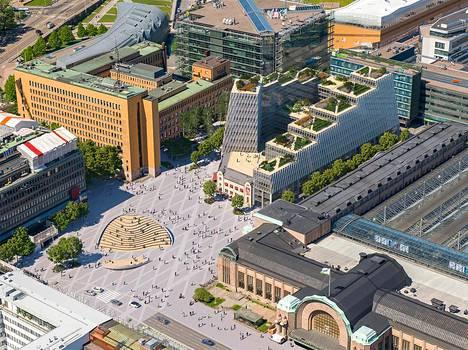 Havainnekuva Elielinaukion arkkitehtuurikilpailun Klyyga-nimisestä ehdotuksesta, joka on pinta-alaltaan noin 40 000 neliötä.
