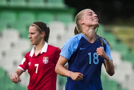 Linda Sällström teki Suomen ainoan maalin Espanjaa vastaan. Kuva Serbia-ottelusta 12. kesäkuuta.