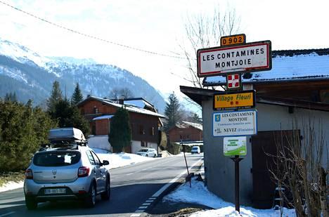 Ranskalainen alppikylä Les Contamines-Montjoie.