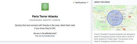 Facebookin sovellus kysyi käyttäjiltä lauantain vastaisena yönä, ovatko he lähellä Pariisin terrori-iskujen tapahtumapaikkaa ja ovatko he kunnossa.