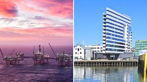Öljy- ja matkailualan yrityksistä voi tulla osalle pohjoismaisista pankeista isoja luottotappioita. Kuvat Johan Sverdrup -öljykentältä Pohjanmereeltä ja Clarion Edge -hotellista Tromssasta.