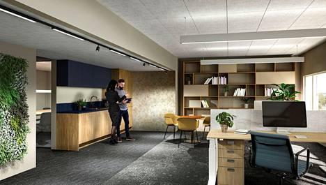 Kodinomaiset, viihtyisät tilat sekä erityyppisiin töihin soveltuvat työskentelyalueet ovat tulevaisuuden toimiston vakio.