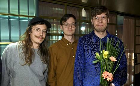 OK:KO -yhtyeen Mikael Saastamoinen (vas), Toomas Keski-Säntti ja Okko Saastamoinen.