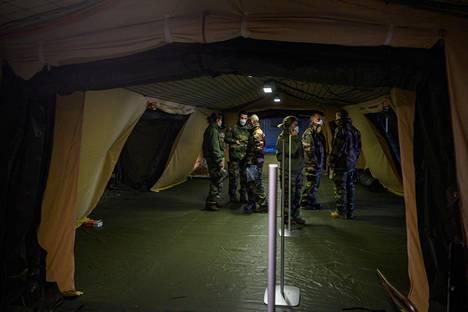 Ranskan Mulhousessa armeija oli pystyttänyt telttasairaalan maanantaina.