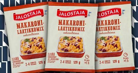 Jalostamon Makaronilaatikkomixiin on lisättävä vain makaronit ja jauheliha.