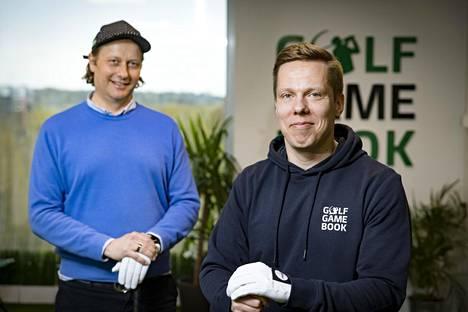 GameBookin perustaja Mikko Manerus (vas.) ja yhtiön myynti- ja markkinointipäällikkö Juho Mahosenaho luotsaavat osaltaan golfia digiaikaan.