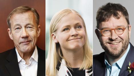 Professori Sixten Korkmanin (vas.) vetämässä paneelissa keskustelivat muiden muassa Elina Lepomäki (kok) ja Timo Harakka (sd).
