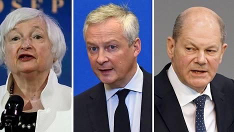 Yhdysvaltain, Ranskan ja Saksan valtiovarainministerit Janet Yellen (vas.), Bruno Le Maire ja Olaf Scholz.