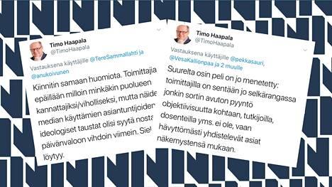 Ilta-Sanomien politiikan erikoistoimittajalla Timo Haapalalla piti juhannuksena kiirettä Twitterissä.