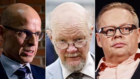 Martti Hetemäki (vas.), Osmo Soininvaara ja Juhana Vartiainen ovat viime aikoina ottaneet osaa perustulokeskusteluun.