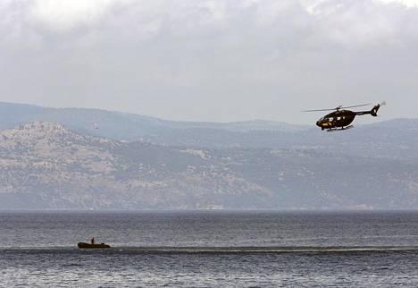 Frontexin helikopteri Lesboksen saaren edustalla viime syyskuussa.