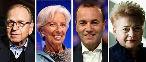 Erkki Liikanen, Christine Lagarde, Manfred Weber ja Dalia Grybauskaitė.