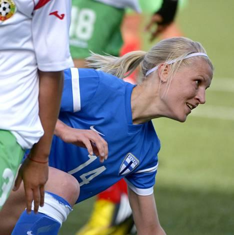 Sanna Talonen onnistui Bulgariaa vastaan myös Helsingissä kesäkuussa pelatussa kamppailussa. Eilen syntyi kolme maalia.