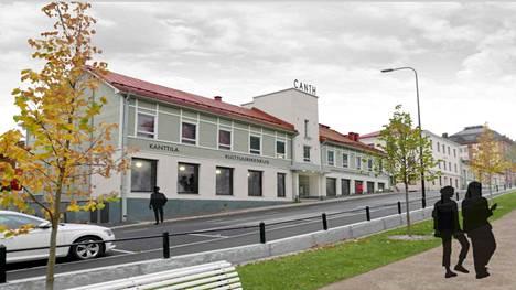 Hahmotelma siitä, miltä rakennus Minna Canthin kadun puolelta voisi kulttuurikeskuksena näyttää.