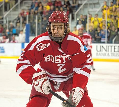 Ahti Oksanen on saanut Bostonin yliopistojoukkueen ykkösketjusta laitahyökkääjän paikan.