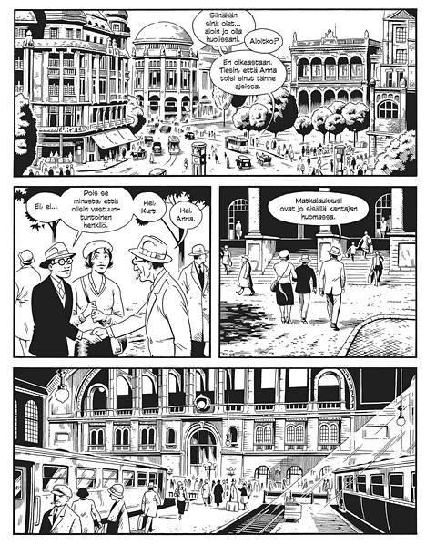 Jason Lutesin ajaton mustavalkoinen piirrostyyli vie uskottavasti menneen ajan Berliiniin.