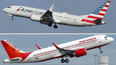 Nämä ovat Boeingin ja Airbusin keihäänkärjet kapearunkoisten koneiden markkinoilla. Yllä amerikkalaisen Boeingin 737 Max ja alla eurooppalainen Airbus 320neo.