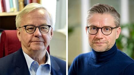 Helsingin yliopiston hallinto-oikeuden emeritusprofessori Olli Mäenpää (vas.) ja Turun yliopiston julkisoikeuden professori Janne Salminen.