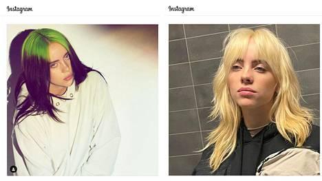 Mustista hiuksista ja vihreästä juurikasvusta ehti tulla osa artistin tavaramerkkiä. Kuvakaappaukset ovat Billie Eilishin Instagram-tililtä.