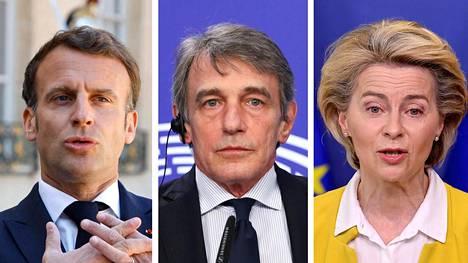 Ranskan presidentti Emmanuel Macron, EU-parlamentin puhemies David Sassoli ja komission puheenjohtaja Ursula von der Leyen.