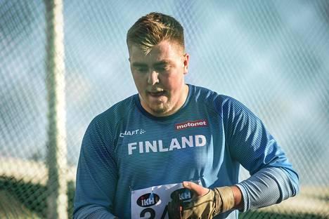 Aaron Kangas Ruotsi-ottelussa elokuun lopulla Tukholmassa.