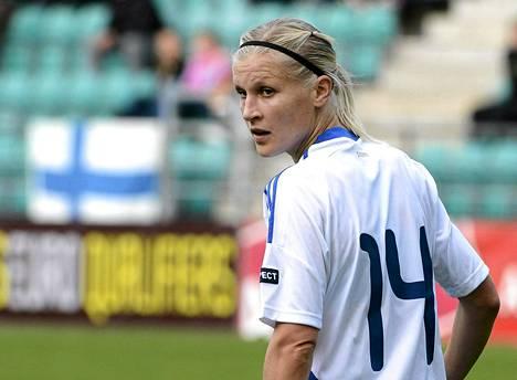 Sanna Talonen teki kolme maalia Unkaria vastaan.