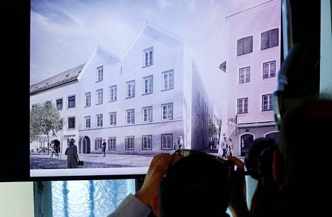 Adolf Hitlerin synnyintalon julkisivu arkkitehtitoimiston suunnitelmassa.