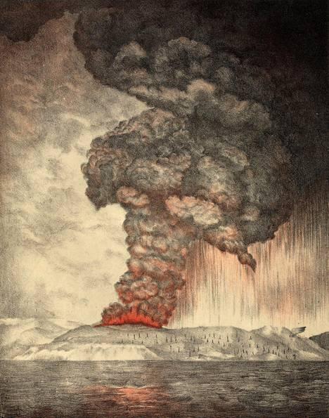Vuonna 1888 tehty litografia vuoden 1883 Krakataun purkauksesta.