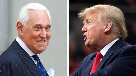 Yhdysvaltain presidentti Donald Trump (oik.) ja hänen entinen pitkäaikainen neuvonantajansa Roger Stone.
