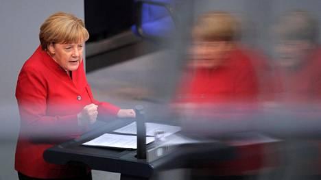 Angela Merkel puhui Saksan liittopäiville viime keskiviikkona.