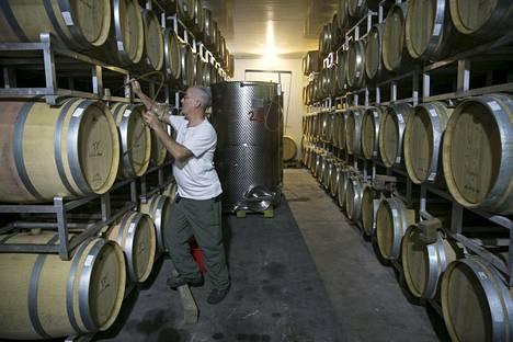 Israelilainen viinintekijä Amichai Lourie Shiloh viinikellarissaan Silossa miehitetyllä Länsirannalla.