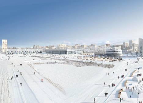 Malmin lentokentän havainnekuvissa ihmiset hiihtävät ja kävelevät laduilla.