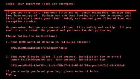 Jumiutuneen tietokoneen ruutuun tulee viesti, jossa pyydetään rahaa salauksen purkamiseksi.
