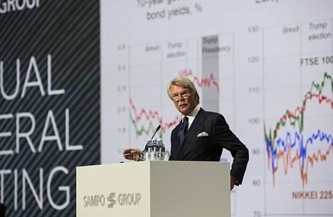 Nordean ja Sammon hallitusten puheenjohtaja Björn Wahlroos puhui markkinoista Sammon yhtiökokouksessa torstaina. Lehdistön valokuvaajat eivät päässeet saliin kuvaamaan.