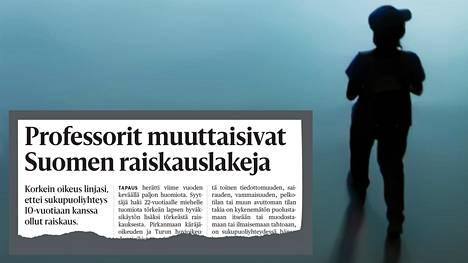 Oikeusministeriön työryhmä ehdotti heinäkuussa, että alle 12-vuotiaaseen kohdistunut seksuaalinen teko tuomittaisiin aina lapsenraiskauksena tai seksuaalisena kajoamisena lapseen. Taustalla on tapaus, jossa oikeus ei tuominnut sukupuoliyhteyttä 10-vuotiaan kanssa raiskauksena.