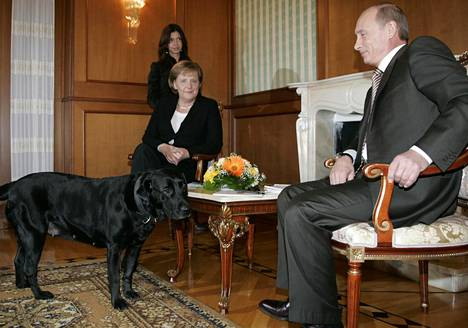 German Chancellor Angela Merkel and Russian President Vladimir Putin met in Sochi in January 2007. Putin's dog was unexpectedly released into the room while photographers were present.
