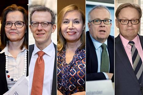 Valtiovarainministeriön kansliapäälliköksi ovat hakeneet Päivi Nerg, Lauri Kajanoja, Leena Mörttinen, Markus Sovala ja Juhana Vartiainen.