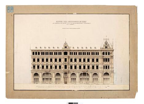Helsingin Aleksanterinkadulla sijaitsevan Atlas-talon julkisivupiirustus vuodelta 1889.