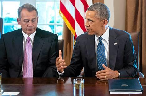 Edustajainhuoneen puhemies John Boehner (vas.) ja presidentti Barack Obama.